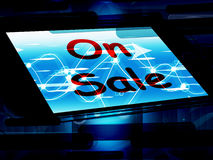 On Sale Screen Shows Promotional Savings Or Discounts Stock Images