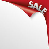 Sale Scrolled Corner Red Paper Cover Stock Photos