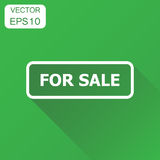 For sale seal stamp icon. Business concept sale pictogram. Vecto. R illustration on green background with long shadow Royalty Free Stock Images