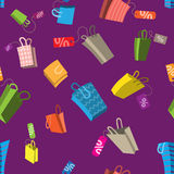 Sale seamless pattern. Bags with tags. Sale seamless vector pattern. Bags with tags and percents Stock Photography