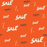 Sale seamless pattern with discount percentage. special offer handwritten text, typography, calligraphy, hand-lettering. Sale. Background vector for sale banner stock illustration