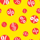Sale seamless pattern with percent on the red circles. Vector Stock Photo