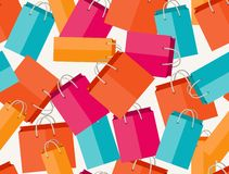 Sale seamless pattern with shopping bags in flat Royalty Free Stock Photo