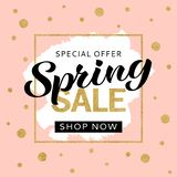 Spring sale banner design template with golden glitter and lettering for flyer, invitation, poster, web site. royalty free stock photo