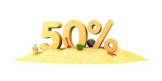 Sale season - 50% - the digits of sand Stock Images