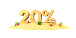 Sale season - 20% - the digits of sand Stock Photos