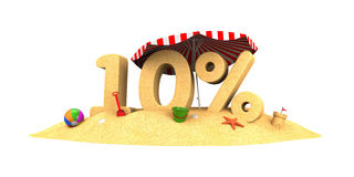 Sale season - 10% - the digits of sand Stock Photography