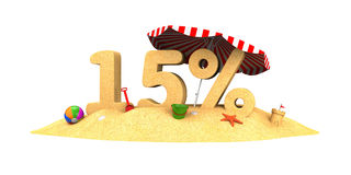 Sale season - 15% - the digits of sand Stock Photo