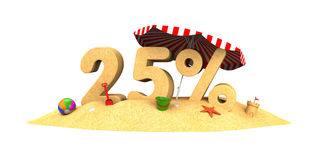 Sale season - 25% - the digits of sand. 3d illustration Stock Photography