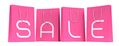Sale Season Is Open! :). Four pink shopping bags with the letters SALE separately on each. 3D rendered image. I've used my own designed font vector illustration