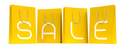 Sale Season Is Open! :). Four yellow shopping bags with the letters SALE separately on each. 3D rendered image. I have used my own designed font royalty free illustration