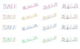 Sale set. Set of Sale 3D text in 4 colors. Each text has a resolution of 2000x1263px Stock Image
