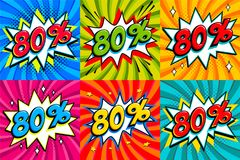 Sale set. Sale eighty percent 80 off tags on a Comics style bang shape background. Pop art comic discount promotion. Banners. Seasonal discounts, Black Friday Royalty Free Stock Photos