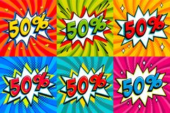 Sale set. Sale Fifiy percent 50 off on a Comics style bang shape background. Pop art comic discount promotion banners. Seasonal discounts, Black Friday, the Stock Photos