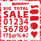 Sale set .Grunge figures,Stamps,badges,frame. Vector Set for sale.Vector grunge figures,percent sign, minus,plus,Stamps,badges,label,frame in grunge shapes Royalty Free Stock Photos