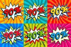 Sale set. Sale ninty percent 90 off tags on a Comics style bang shape background. Pop art comic discount promotion. Banners. Seasonal discounts, Black Friday vector illustration