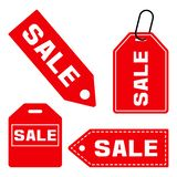 SALE. Set of price tag icon. Red signs on white background. Vector illustration stock illustration