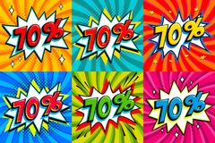Sale set. Sale seventy percent 70 off tags on a Comics style bang shape background. Pop art comic discount promotion. Banners. Seasonal discounts, Black Friday Stock Illustration
