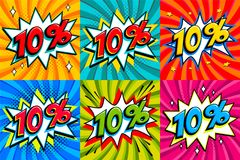 Sale set. Sale Ten percent 10 off tags on a Comics style bang shape   Royalty Free Stock Image