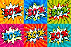 Sale set. Sale thirty percent 30 off tags on a Comics style bang shape background. Pop art comic discount promotion. Banners. Seasonal discounts, Black Friday Stock Photo