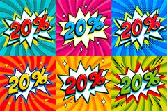 Sale set. Sale twenty percent 20 off tags on a Comics style. Bang shape background. Pop art comic discount promotion banners. Seasonal discounts, Black Friday Royalty Free Stock Photo