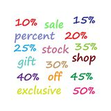Sale. Shares. Gifts. Exclusively. Black Friday. eps 10 royalty free illustration
