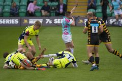 The Sale Sharks and Wasps. Rugby 7 S Premiership Series at Northampton Franklins Garden stock photography
