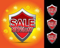 Sale shield 80% off , sale shield 70% off, sale shield 75% off, sale shield 85% off emblem. Crest, shield sticker, banner. Royalty Free Stock Photo