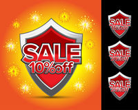 Sale shields 10% off. Sale shields 15% off vector illustration