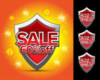 Sale shields 60% off. Sale shields 50% off Royalty Free Stock Image