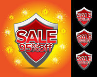Sale shields 95% off. royalty free illustration