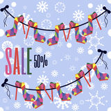 Sale shoes on a rope Royalty Free Stock Photo