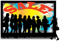 SALE shop window. Females standing in front of SALE shop window. Vector color illustration Stock Photography