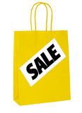 Sale shopper, carrier bag isolated - January, winter sales Stock Photo