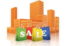 Sale shopper city. Illustration of sale shopper with city in background Stock Photo