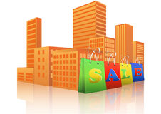 Sale shopper city. Illustration of sale shopper with city in background Royalty Free Stock Photo