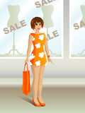 Sale shopping. Girl who managed to buy something during the sale Royalty Free Stock Images