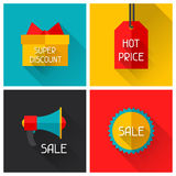 Sale and shopping advertising posters in flat Royalty Free Stock Photos