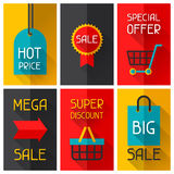 Sale and shopping advertising posters in flat Stock Photo