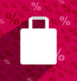 SALE shopping bag with copy space and long shadow. Sample vector illustration