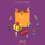 Sale shopping bag e-commerce consumerism flat vector isometric Royalty Free Stock Photography