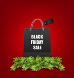 Sale Shopping Bag with Fir Twigs for Black Friday Sales Royalty Free Stock Photography