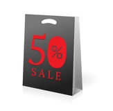 Sale shopping bag. 50 percent sale shopping bag stock illustration