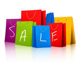 Sale shopping bags. Concept of discount. Royalty Free Stock Photo