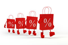 Sale shopping bags. Concept of discount. Cube characters paper in paper bags. stock illustration