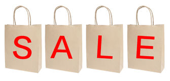 Sale shopping bags. Isolated on white Royalty Free Stock Photography