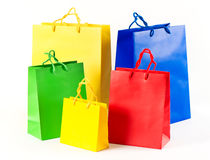 Sale shopping bags red, blue, yellow Stock Image