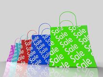 Sale Shopping Bags Shows Bargains Stock Images