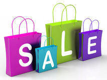 Sale On Shopping Bags Shows Bargains Royalty Free Stock Photography