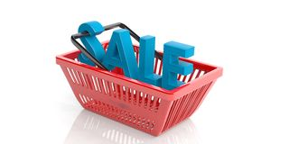 Sale in a shopping basket. 3d illustration Royalty Free Stock Photos
